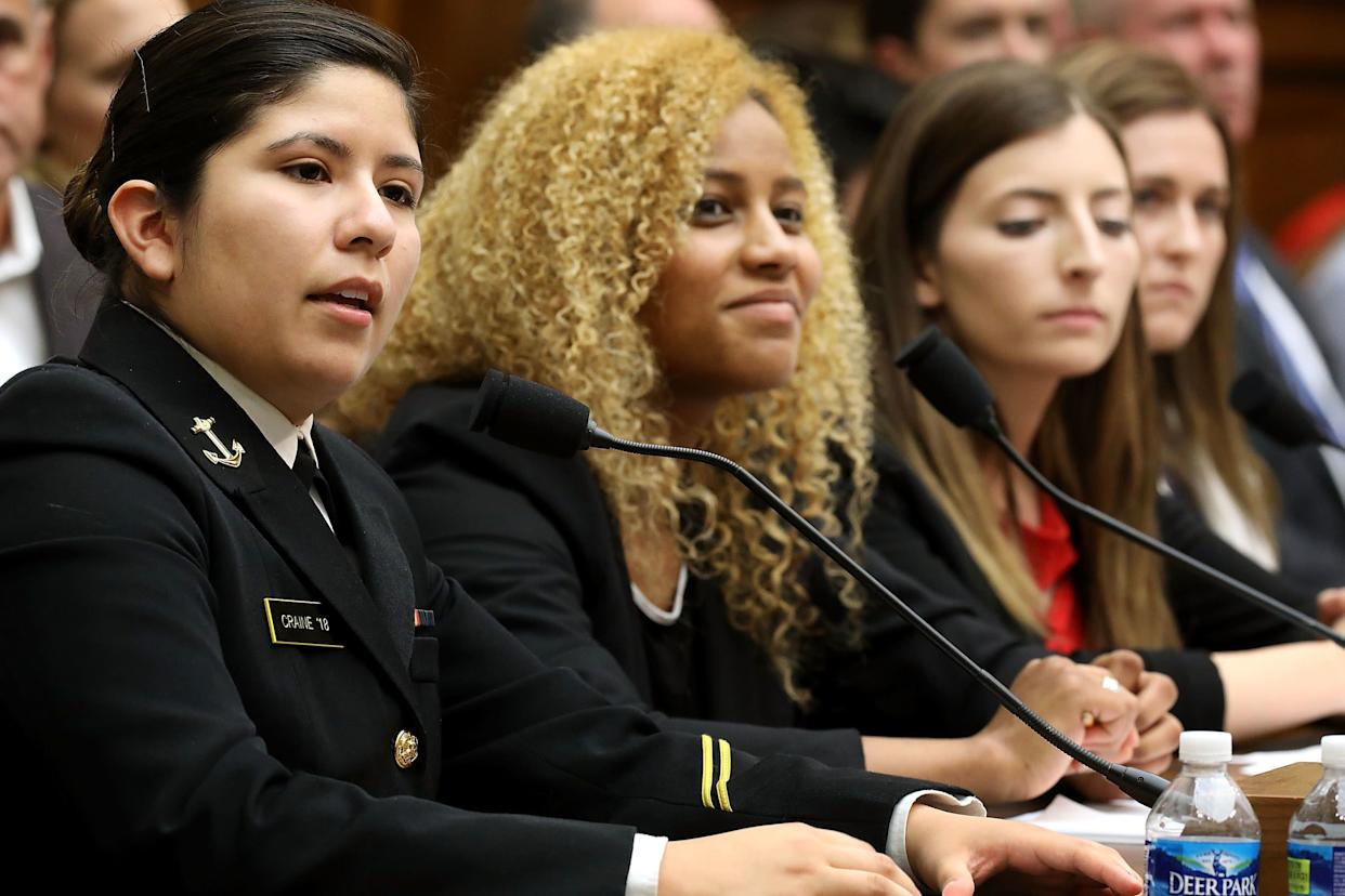 United States Naval Academy Midshipman 2nd Class Shiela Craine (left), a sexual assault survivor, testifies before the House Armed Services Committee's Subcommittee on Military Personnel with (2nd from left to right) Ariana Bullard, Stephanie Gross and Annie Kendzior in the Rayburn House Office Building on Capitol Hill on May 2, 2017. Kendzior, a former midshipman, and Gross, a former cadet, were both raped twice during their time at the military academies. The academy superintendents were called to testify following the release of a survey last month by the Pentagon that said 12.2 percent of academy women and 1.7 percent of academy men reported experiencing unwanted sexual contact during the 2015-16 academic year.