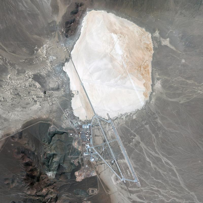 The Area 51 facility lies adjacent to the dry bed of Groom Lake. | DigitalGlobe via Getty