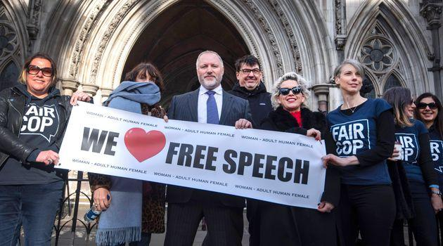 Harry Miller, founder of the campaign group Fair Cop with supporters outside the High Court