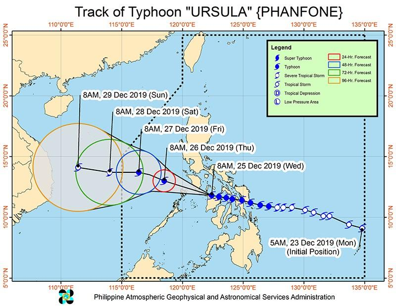 'Ursula' maintains strength, makes landfall in 5 areas