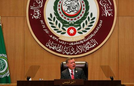 Jordan's King Abdullah II speaks during the 28th Ordinary Summit of the Arab League at the Dead Sea, Jordan March 29, 2017. REUTERS/Mohammad Hamed