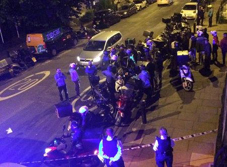 Emergency response following acid attack on the junction of Hackney Road junction with Queensbridge Road, London, Britain July 13, 2017 in seen in this picture obtained from social media. SARAH COBBOLD via REUTERS
