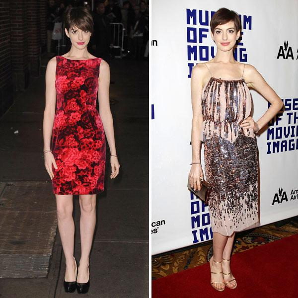 "<b>Anne Hathaway </b><br><br>The <a target=""_blank"" href=""http://uk.lifestyle.yahoo.com/photos/les-miserables-red-carpet-fashion-slideshow/"">Les Miserables</a> actress had two winning outfits this week. She looked stunning in a floral printed shift dress (left) and dazzled in a blush coloured Nina Ricci SS13 sequinned gown.<br><br>© Rex"