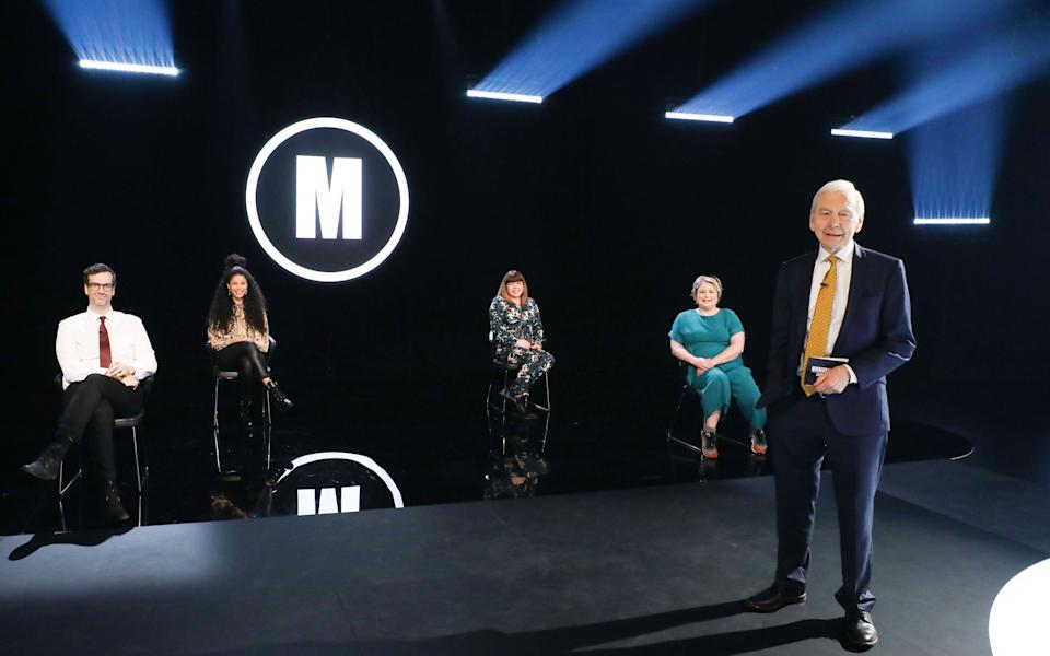 Marcus Brigstocke, Vick Hope, Briony May Williams, Siobhan McSweeney, John Humphrys - Celebrity Mastermind S18 (Hindsight/Hat Trick Productions/Kelvin Boyes/Press Eye)