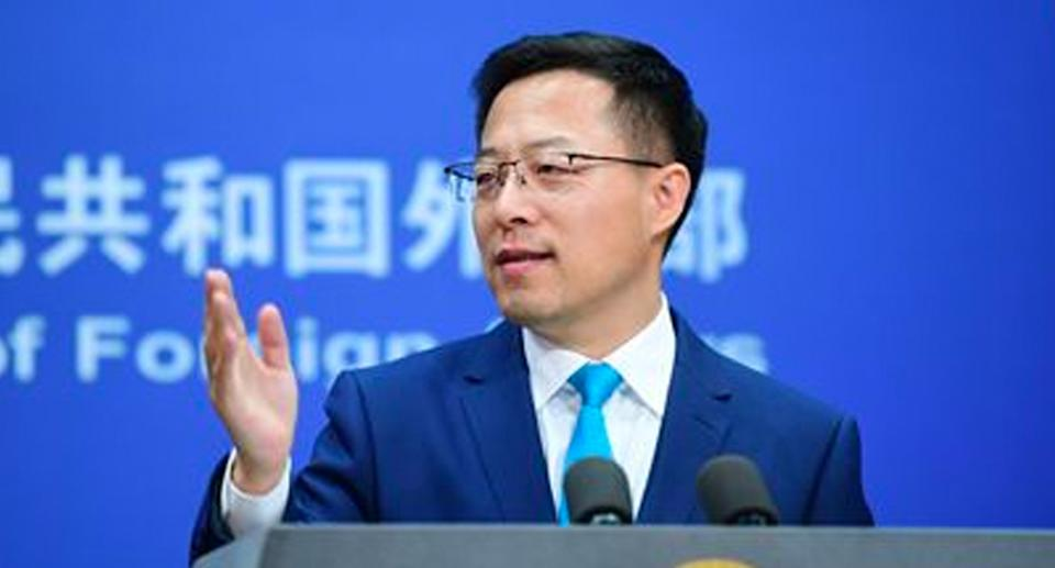 Foreign Ministry spokesperson Zhao Lijian doubled down on the warning to Australia. Source: FMPRC
