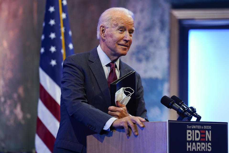 Democratic presidential candidate former Vice President Joe Biden gives a speech on the Supreme Court at The Queen Theater, Sunday, Sept. 27, 2020, in Wilmington, Del. (AP Photo/Andrew Harnik)