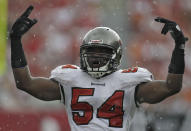 FILE - Tampa Bay Buccaneers linebacker Geno Hayes (54) gestures during an NFL football game against the Cleveland Browns in Tampa, Fla., in this Sunday, Sept. 12, 2010, file photo. Hayes, a former NFL linebacker who starred at Florida State, has died. He was 33. The Tampa Bay Buccaneers on Tuesday, April 27, 2021, confirmed his death. He had liver disease and had been in hospice care. (AP Photo/Chris O'Meara, File)