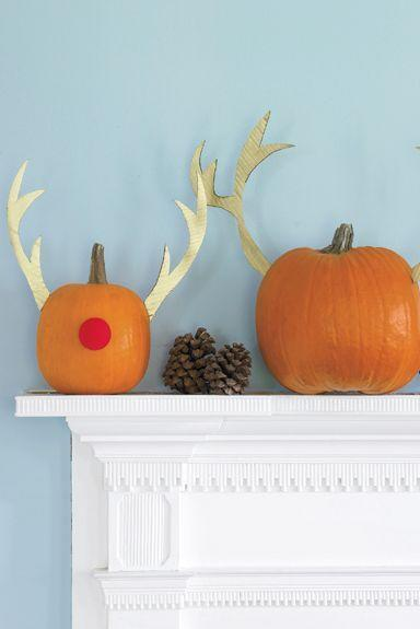 """<p>Not everything has to be scary at your Halloween party. Celebrate Christmas in October by decorating your pumpkins like reindeers. </p><p><em><strong><a href=""""https://www.womansday.com/home/crafts-projects/how-to/a5982/craft-project-merry-mix-up-123880/"""" rel=""""nofollow noopener"""" target=""""_blank"""" data-ylk=""""slk:Get the Pumpkin Mix-Up tutorial."""" class=""""link rapid-noclick-resp"""">Get the Pumpkin Mix-Up tutorial.</a></strong></em></p>"""