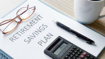 Sheet of paper with retirement savings plan on it