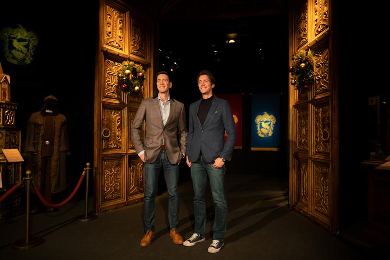 Film actors Oliver Phelps and James Phelps at Harry Potter™: The Exhibition at the Pavilion of Portugal in Lisbon, Portugal