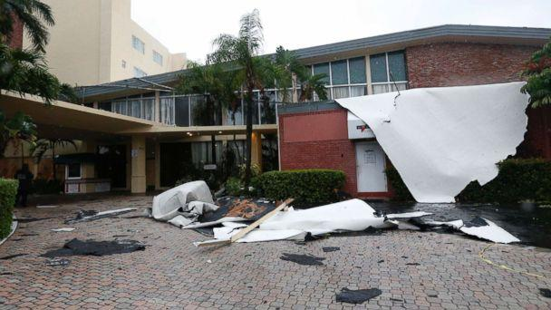 PHOTO: Roof damage caused by high winds brought on by Hurricane Irma is shown, Saturday, Sept. 9, 2017, in Sunny Isles Beach, Fla. (AP Photo/Wilfredo Lee)