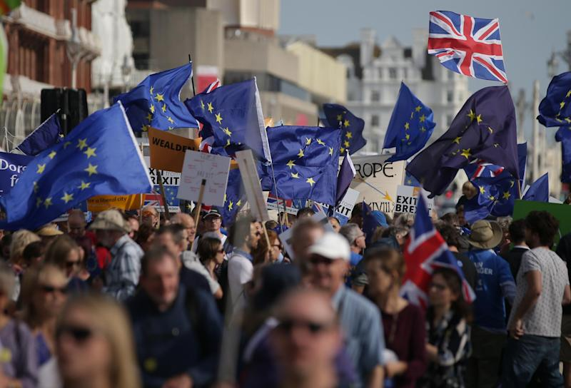 It comes as leading political figures debate whether the country needs a further referendum to decide on Brexit, once terms of departure are known: AFP/Getty