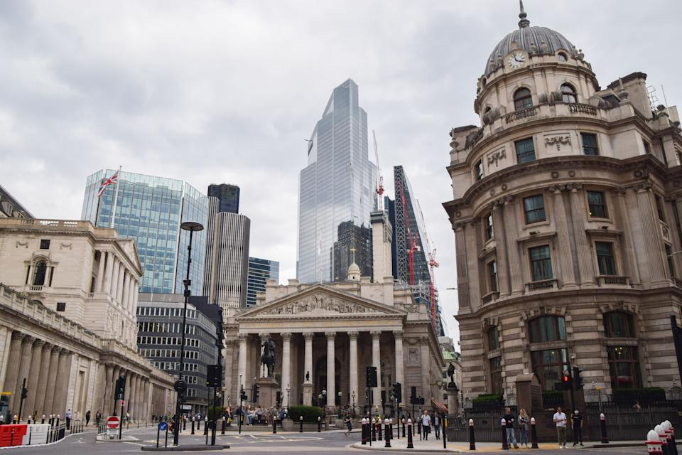 General view of The Royal Exchange, Bank of England and City of London on an overcast day. (Photo by Vuk Valcic / SOPA Images/Sipa USA)