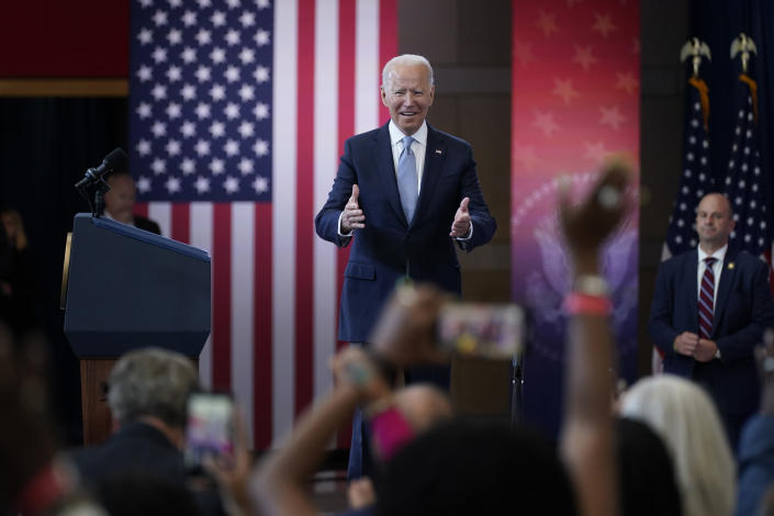 President Joe Biden arrives to speak about voting rights at the National Constitution Center, Tuesday, July 13, 2021, in Philadelphia. (Evan Vucci/AP)