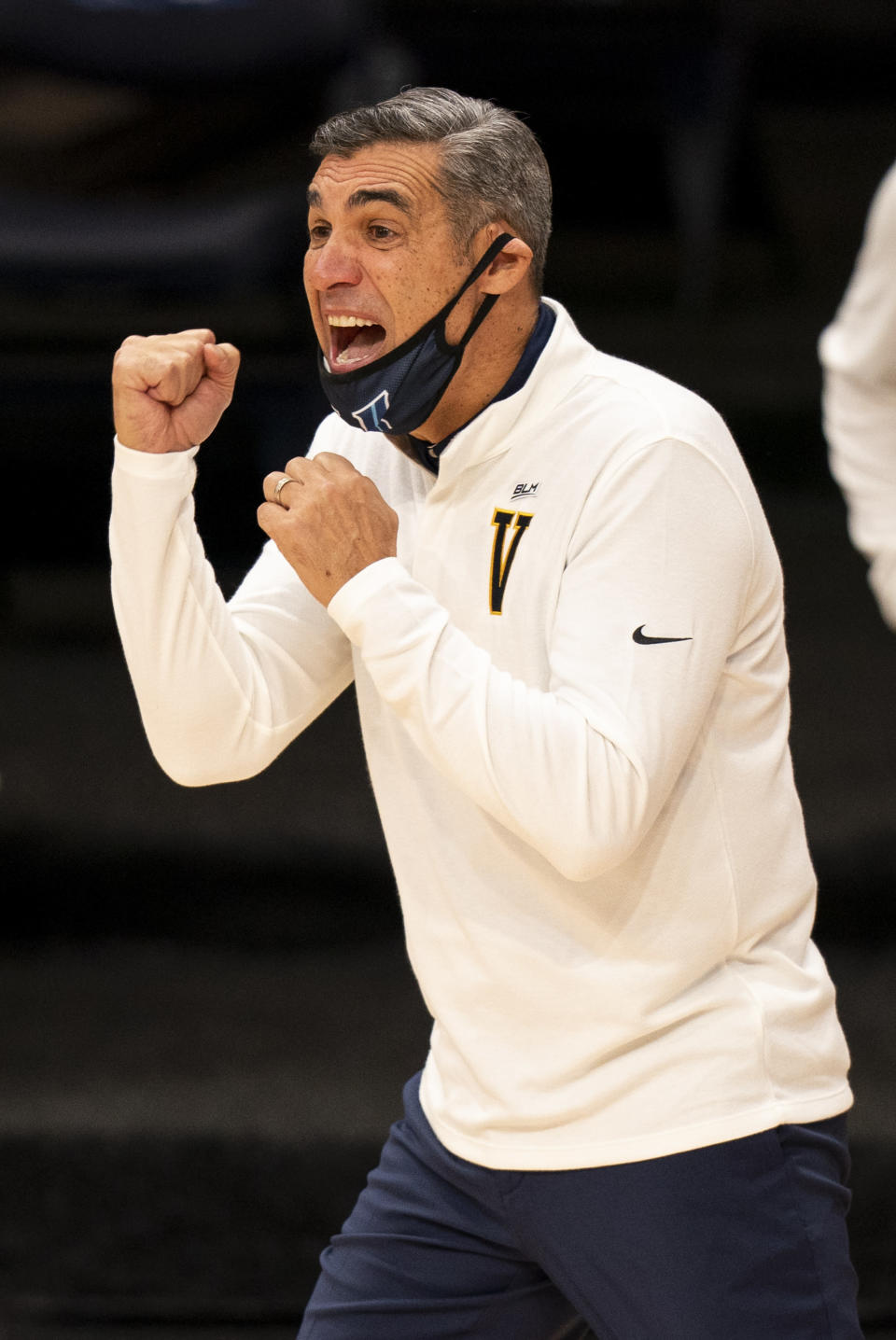 Villanova's head coach Jay Wright reacts on the sidelines during the first half of an NCAA college basketball game against Providence, Saturday, Jan. 23, 2021, in Villanova, Pa. (AP Photo/Chris Szagola)