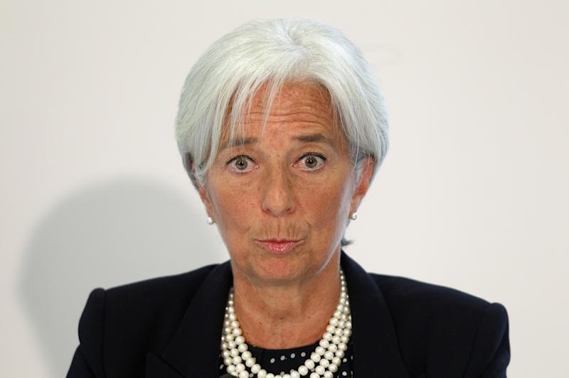 Christine Lagarde, the Managing Director of the International Monetary Fund, addresses a press conference at the Treasury in London Tuesday May 22, 2012.  The International Monetary Fund has issued a tough assessment of U.K. economic policy, urging the coalition government and Bank of England to do more to boost demand in the economy.  (AP Photo Oli Scarff, Pool)
