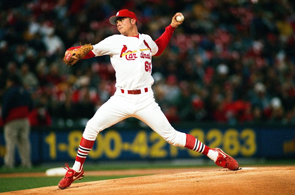 ST. LOUIS, MO - APRIL 20: Rick Ankiel of the St. Louis Cardinals pitches against the San Diego Padres at Busch Stadium on April 20, 2000 in St. Louis, Missouri. (Photo by Sporting News via Getty Images via Getty Images)