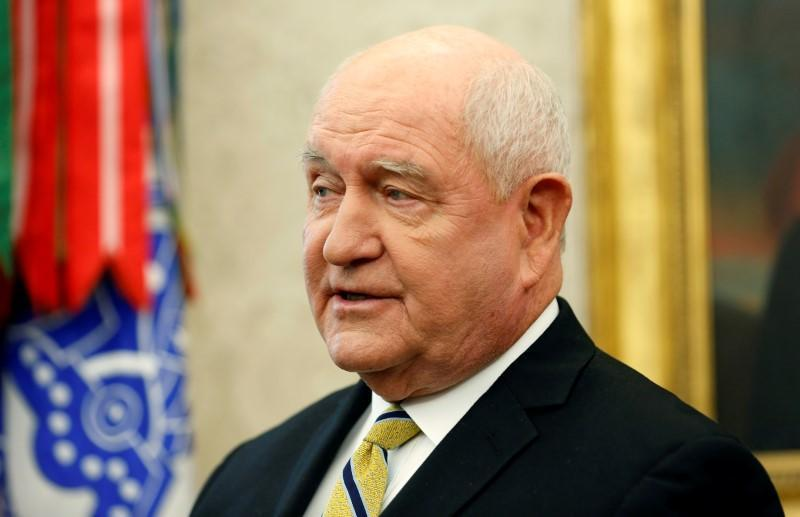 FILE PHOTO: U.S. Secretary of Agriculture Sonny Perdue speaks during an event in the Oval Office of the White House in Washington