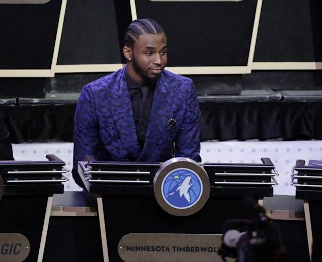 "<a class=""link rapid-noclick-resp"" href=""/nba/players/5292/"" data-ylk=""slk:Andrew Wiggins"">Andrew Wiggins</a> will be able to afford a new suit very soon. (AP)"
