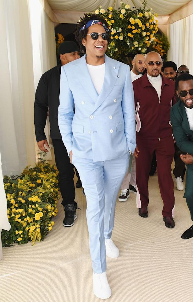 <p>Jay Z and Jay Gatsby are united by more than name. Like literature's favourite Old Sport, the Roc Nation rapper boasts an eye-watering personal fortune and the same love of beautiful pastel suits. <br></p>