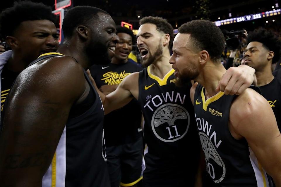 "<div class=""inline-image__caption""><p>Stephen Curry #30, Klay Thompson #11 and Draymond Green #23 of the Golden State Warriors celebrate after defeating the Portland Trail Blazers 114-111 in game two of the NBA Western Conference Finals at ORACLE Arena on May 16, 2019, in Oakland, California.</p></div> <div class=""inline-image__credit"">Ezra Shaw/Getty</div>"