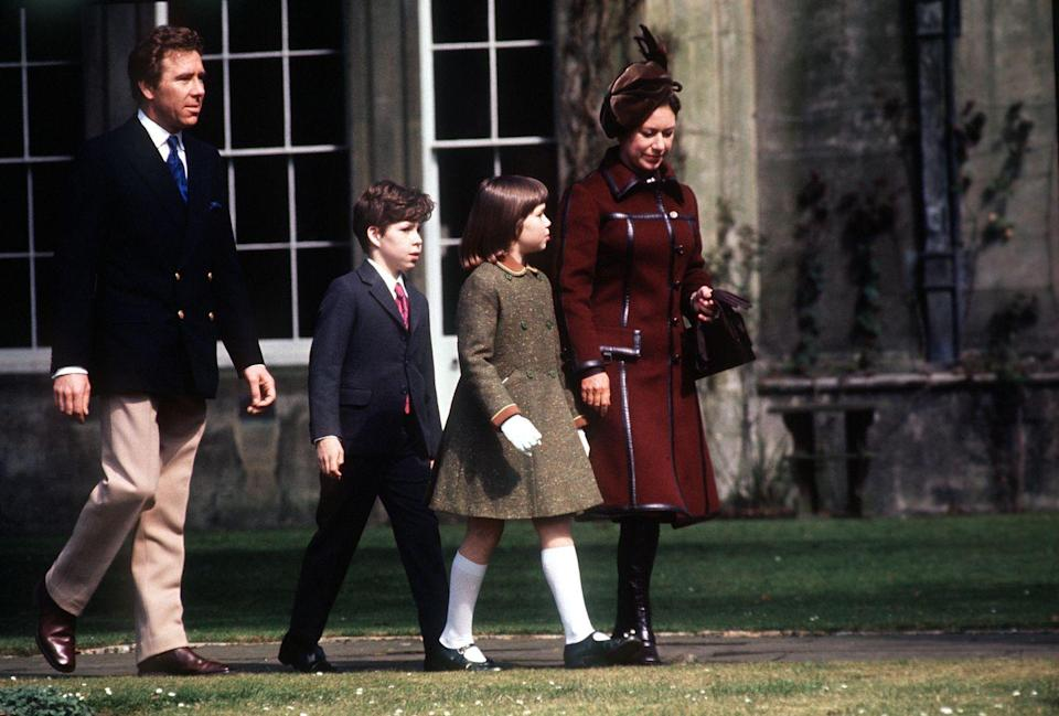 <p>Lord Snowdon, Lord Linley (David), Lady Sarah, and Princess Margaret headed to church in Badminton, Gloucestershire.</p>