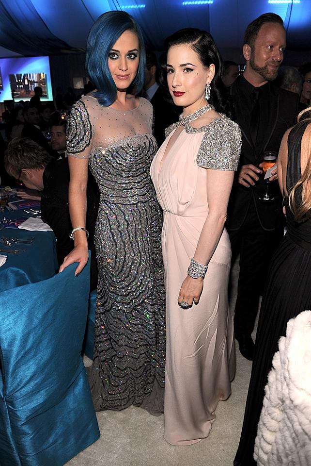 Katy Perry -- whose tired blue hairdo has got to go -- sparkled in Blumarine, while Dita Von Teese shimmered in Jenny Packham.