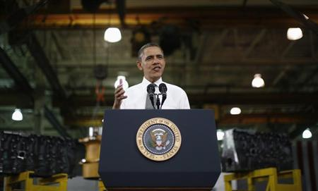 U.S. President Obama delivers remarks on the economy after touring Linamar Corporation that manufactures parts for the truck industry in Arden, North Carolina