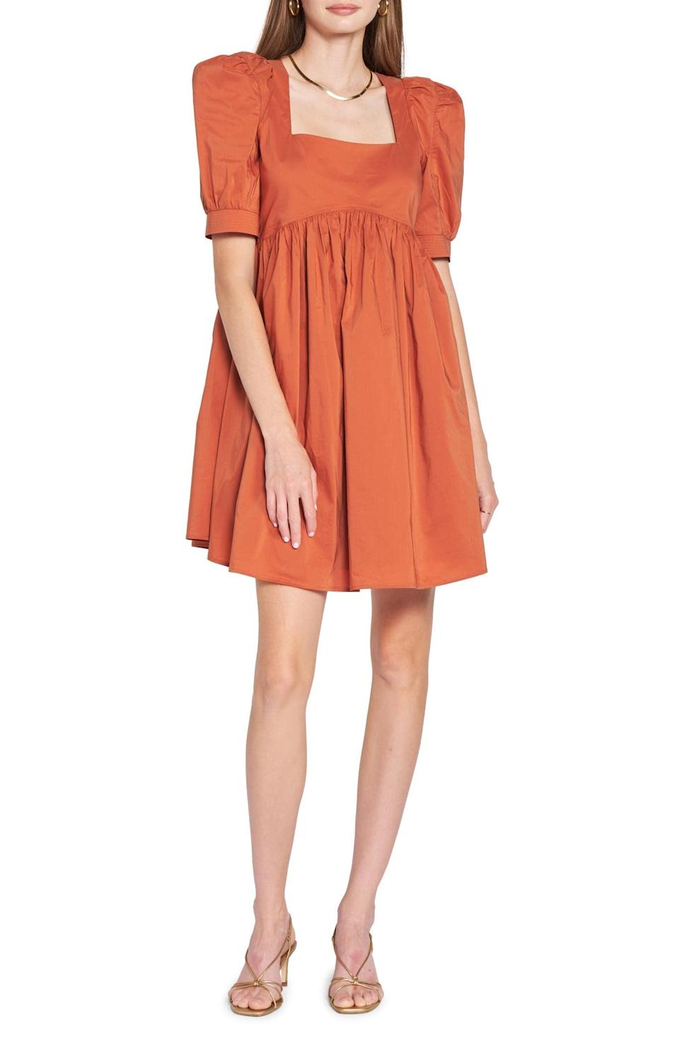 <p>The classic pumpkin color of this <span>En Saison Cotton Blend Poplin Babydoll Minidress</span> ($120) makes us so excited for autumn. It will look cute with booties or flats.</p>