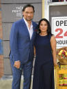 """Actors Jimmy Smits, left, and Wanda De Jesus attend the 2021 Tribeca Film Festival opening night premiere of """"In the Heights"""" at the United Palace theater on Wednesday, June 9, 2021, in New York. (Photo by Evan Agostini/Invision/AP)"""