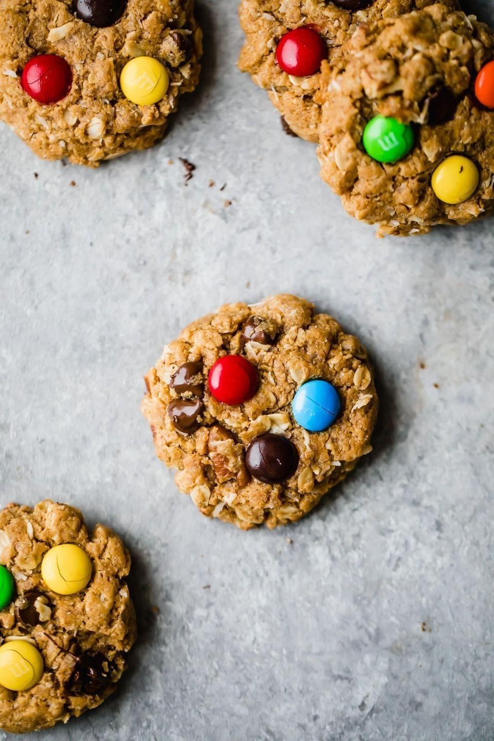 """<p>You won't miss the flour in these loaded cookies—they still have some sweet ingredients (like M&Ms) but they're also packed with protein and healthy fats thanks to oats, peanut butter, and nuts. </p><p><strong>Get the recipe at <a href=""""https://www.ambitiouskitchen.com/healthy-flourless-monster-cookies/"""" rel=""""nofollow noopener"""" target=""""_blank"""" data-ylk=""""slk:Ambitious Kitchen"""" class=""""link rapid-noclick-resp"""">Ambitious Kitchen</a>. </strong></p>"""