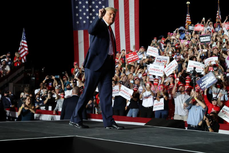 U.S. President Trump holds a campaign rally at Orlando Sanford International Airport in Sanford, Florida
