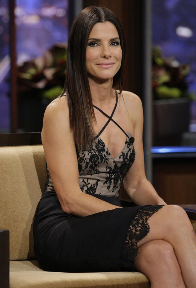 THE TONIGHT SHOW WITH JAY LENO -- Episode 4486 -- Pictured: Actress Sandra Bullock during an interview on June 25, 2013 -- (Photo by: Paul Drinkwater/NBC/NBCU Photo Bank via Getty Images)