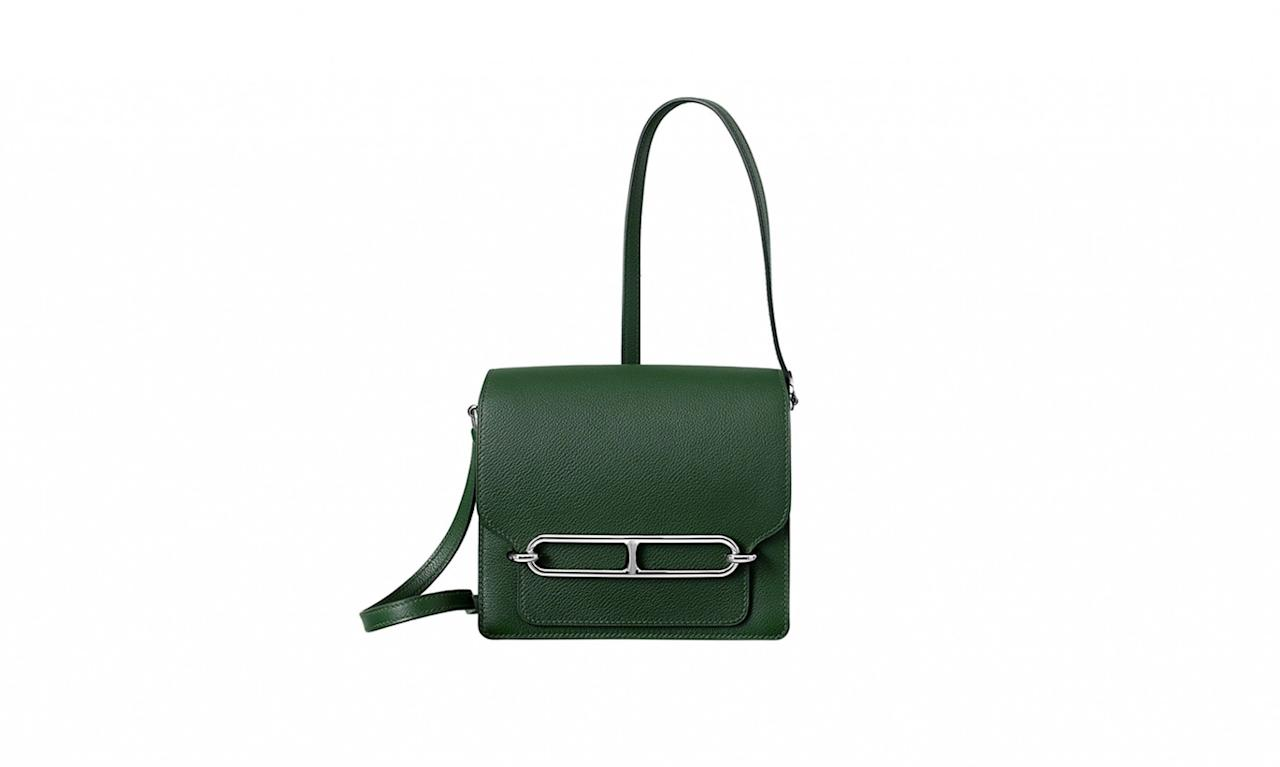 """<p>Roulis 18, $6,550, <a rel=""""nofollow"""" href=""""http://usa.hermes.com/leather/bags-and-luggage/women/configurable-product-c-roulis-75671.html?size_leather=S&color_hermes=ETAIN&nuance=1#"""">hermes.com</a> </p>"""