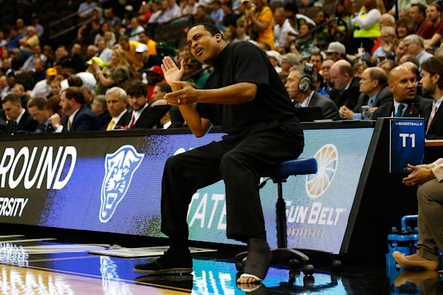 Georgia State coach Ron Hunter claps for his team during its upset of Baylor. (Getty)