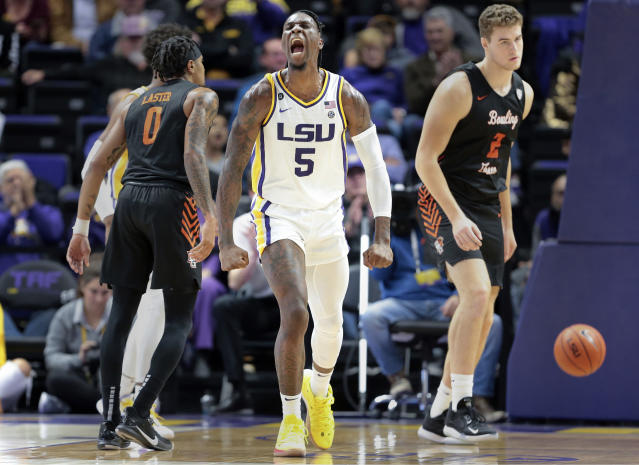 LSU forward Emmitt Williams (5) reacts after scoring against Bowling Green during second half action in an NCAA college basketball game in Baton Rouge, La., Friday, Nov. 8, 2019. (AP Photo/Brett Duke)