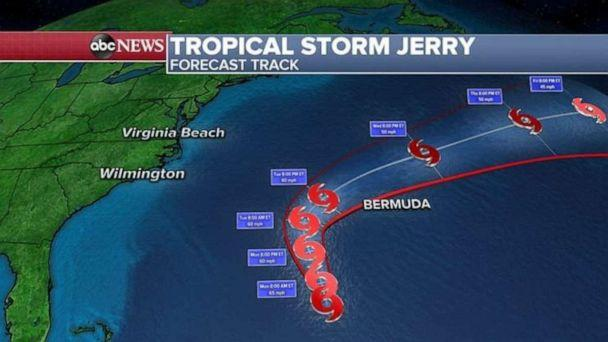 PHOTO: Tropical Storm Jerry is not expected to strengthen but a Tropical Storm Watch has been issued in Bermuda. (ABC News)
