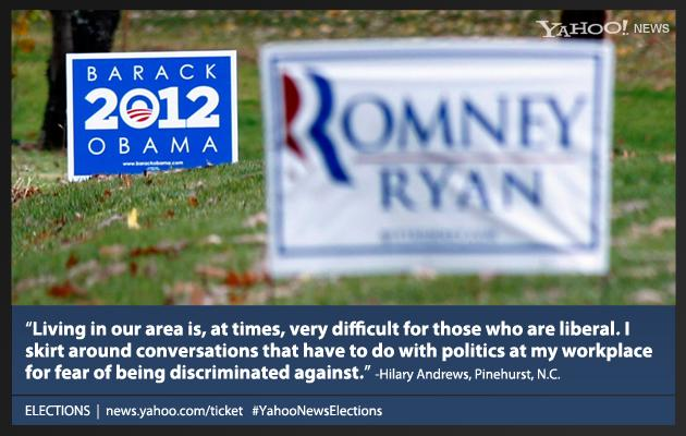 Pictured: Campaign signs for both President Barack Obama, and his challenger, Republican presidential candidate, former Massachusetts Gov. Mitt Romney are seen in yards outside Evans City, Pa., Friday, Nov. 2, 2012.