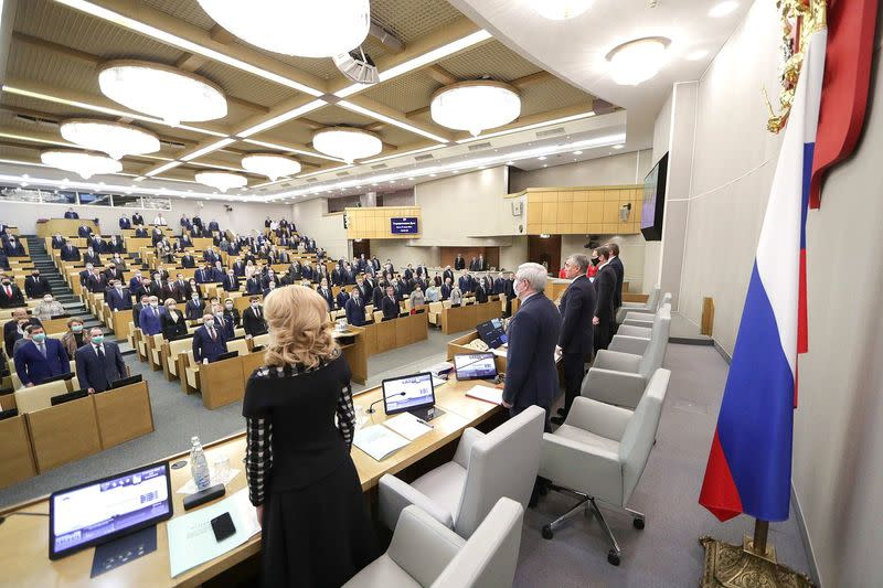 Russian lawmakers attend a session of State Duma in Moscow
