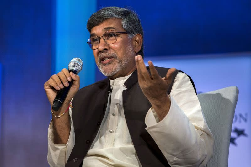 FILE PHOTO: Kailash Satyarthi, 2014 Nobel Peace Prize Laureate, takes part in a panel during the Clinton Global Initiative's annual meeting in New York