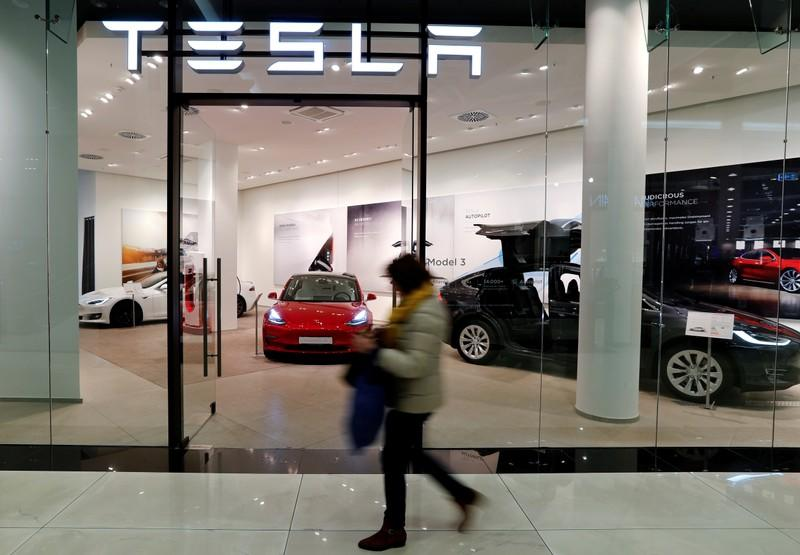 A flagstore shop of electric carmaker Tesla is pictured in Berlin