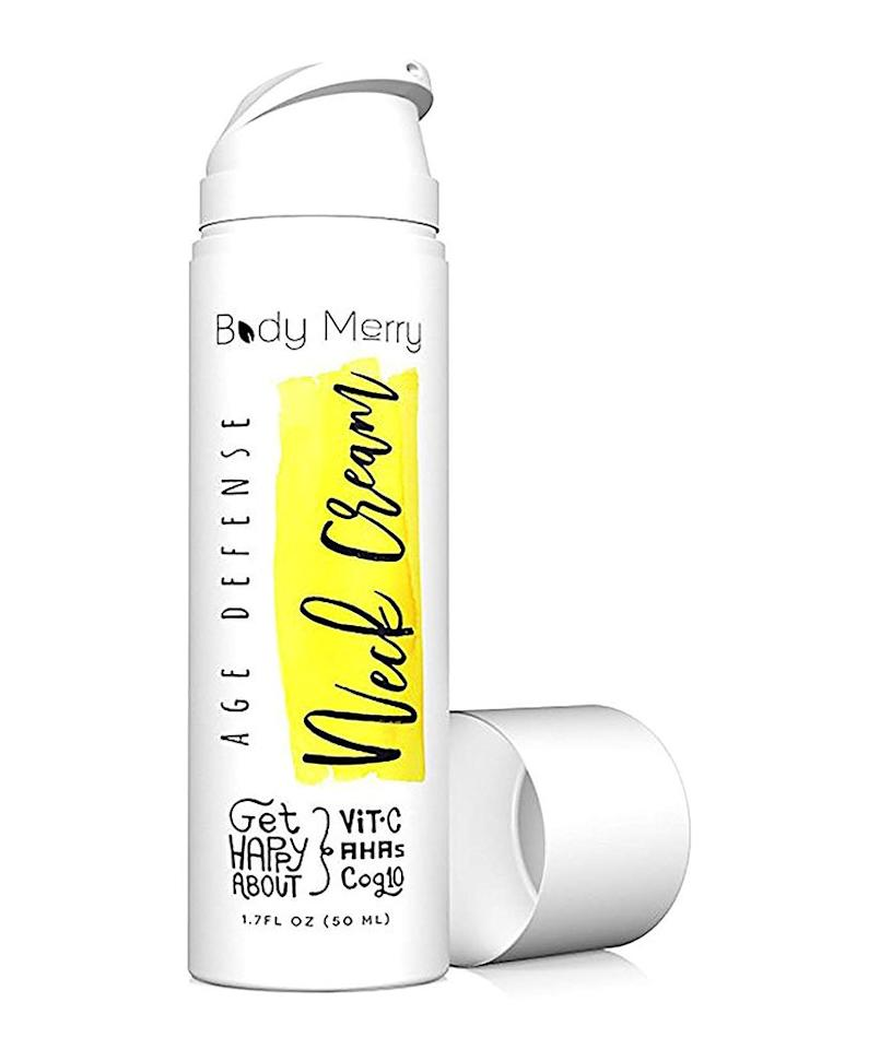 """<p>A little goes a long way with this neck cream that's formulated with vitamin C, hyaluronic acid, and squalane, which together act as a powerful defense against sagging skin while also helping with hydration and elasticity. For evidence, just check out <a href=""""https://www.amazon.com/product-reviews/B00S59Z78S/ref=as_li_ss_tl?ie=UTF8&linkCode=ll2&tag=rsbeubestneckcreamsmalcedo-20&linkId=71253fc2e90c4f66cba002f42e25cb30&language=en_US"""">the reviews section on Amazon</a>, which is full of customers touting its neck-firming results. One wrote, """"I've been using this lotion as my daily moisturizer for a year and love it. I'm 42 and feel this has helped maintain skin bounce back or tightness with use. It is non-irritating and the price for value can't be beat!""""</p> <p><strong>To buy: </strong>$21; <a href=""""https://www.amazon.com/Body-Merry-Defense-Neck-Cream/dp/B00S59Z78S/ref=as_li_ss_tl?ie=UTF8&linkCode=ll1&tag=rsbeubestneckcreamsmalcedo-20&linkId=9cab91a106808a24e5d9a56c16dc4510&language=en_US"""">amazon.com</a>.</p>"""