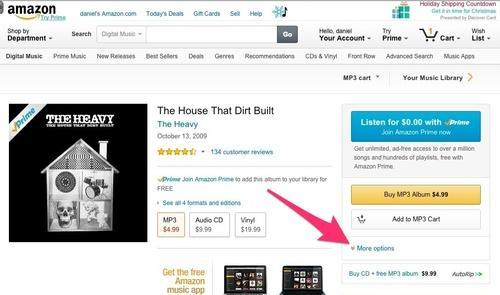 Amazon More options button