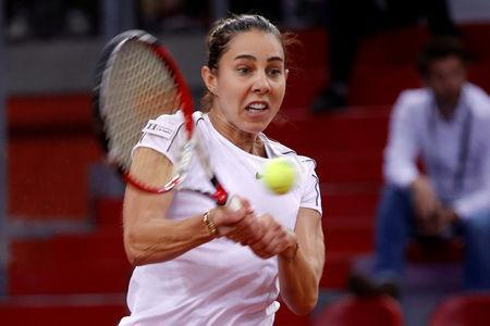 Tennis - Fed Cup - World Group Semi-Final - France v Romania - Kindarena, Rouen, France - April 20, 2019 Romania's Mihaela Buzarnescu in action during her match against France's Caroline Garcia REUTERS/Charles Platiau