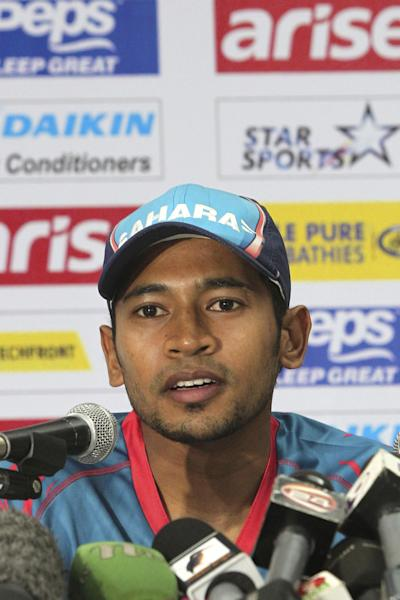 Bangladesh cricket team captain Mushfiqur Rahim addresses a press conference ahead of the Asia Cup tournament in Dhaka, Bangladesh, Sunday, Feb. 23, 2014. Pakistan plays Sri Lanka in the opening match of the five nation one day cricket event that begins Tuesday. (AP Photo/A.M. Ahad)