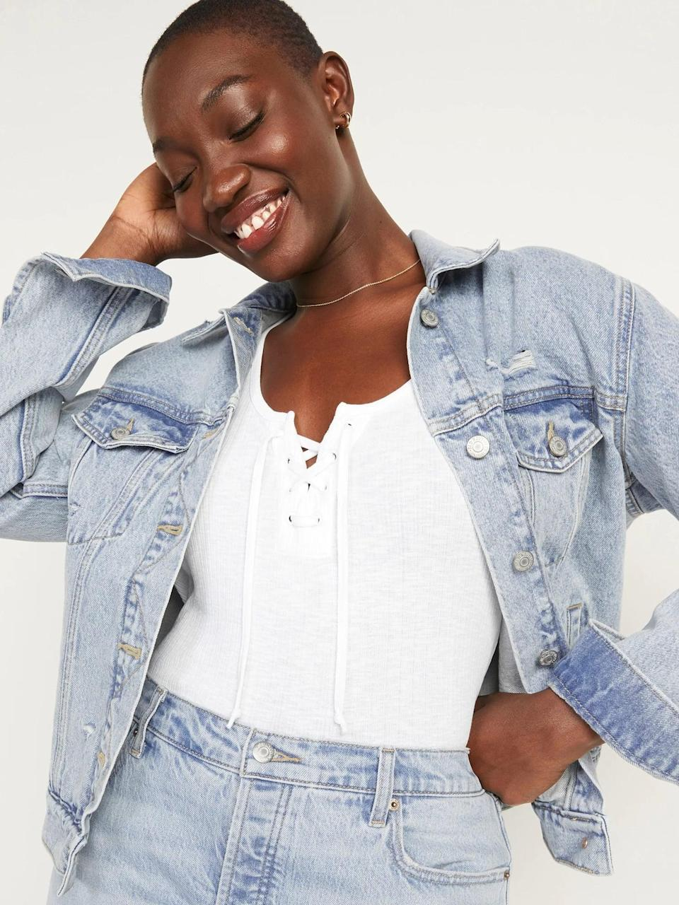<p>We're not at all distressed by this <span>Old Navy Ripped Light-Wash Jean Jacket</span> ($45) with frayed rips and abrasions that make it look <i>already</i> well-loved.</p>