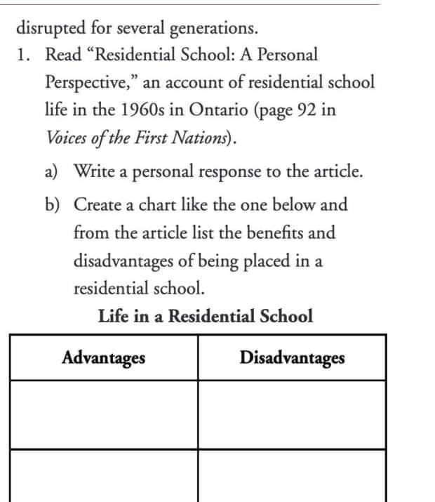 Students are asked to create a chart listing the advantages and disadvantages of residential schools. (Submitted by Jennifer Eaton - image credit)