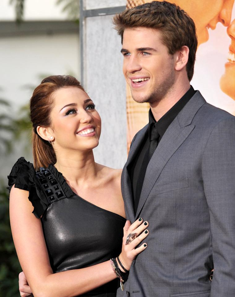 "Liam Hemsworth swept Miley Cyrus off her feet in real life, and in ""The Last Song."" John Shearer/<a href=""http://wireimage.com"" target=""_blank"">WireImage.com</a> - March 25, 2010"