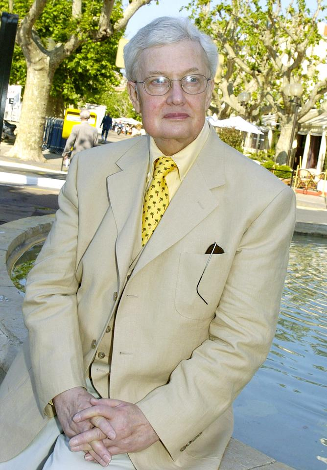 *** FILE *** Pulitzer Prize winning American film critc Roger Ebert, poses at the 57th International Film Festival in Cannes, southern France, Monday, May 17, 2004. Ebert will be honored at the 17th annual Gotham Awards for a career of championing independent cinema. Ebert will receive the honor at the Nov. 27th event at Brooklyn's Steiner Studios. (AP Photo/Michel Euler)