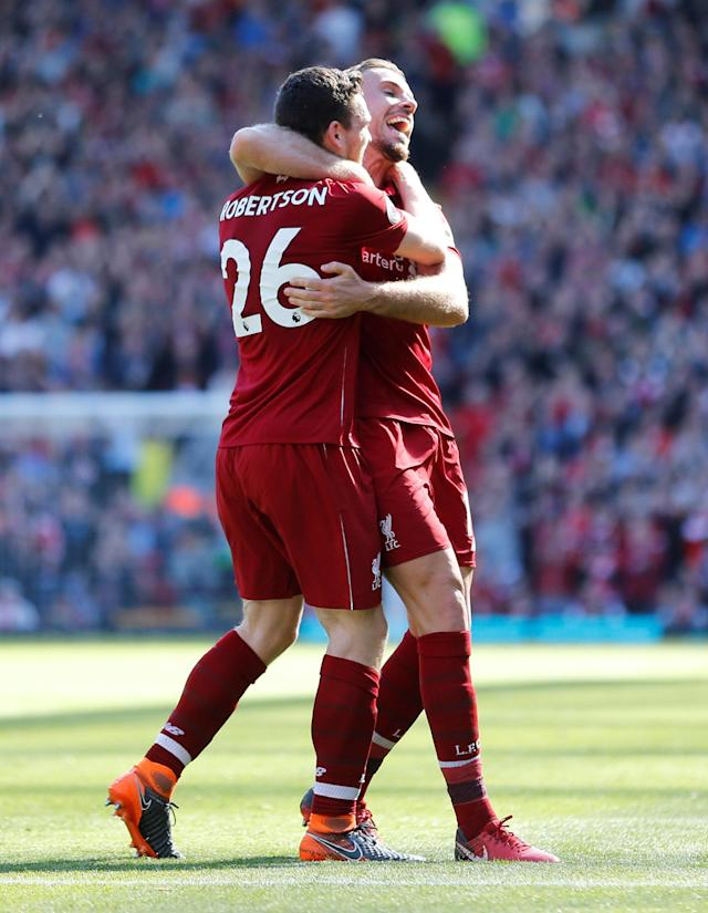 "Soccer Football - Premier League - Liverpool vs Brighton & Hove Albion - Anfield, Liverpool, Britain - May 13, 2018 Liverpool's Andrew Robertson celebrates scoring their fourth goal with Jordan Henderson Action Images via Reuters/Carl Recine EDITORIAL USE ONLY. No use with unauthorized audio, video, data, fixture lists, club/league logos or ""live"" services. Online in-match use limited to 75 images, no video emulation. No use in betting, games or single club/league/player publications. Please contact your account representative for further details."